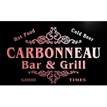 u06960-r CARBONNEAU Family Name Bar & Grill Cold Beer Neon Light Sign Enseigne Lumineuse