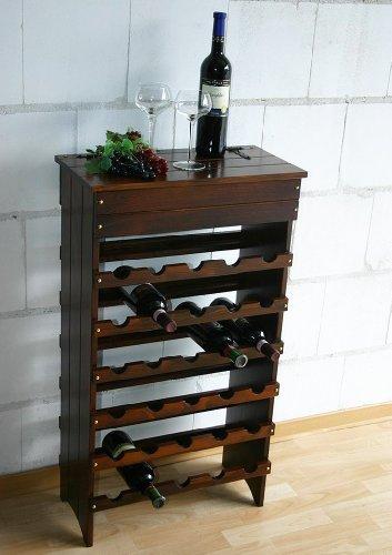 Casa Massivholz Weinregal Flaschenregal im Kolonialstil für 30 Flaschen