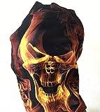 shenky - Pañuelo multiusos - Uso como fular, braga y bandana - Negro y azul marino - Calavera en llamas - Talla única