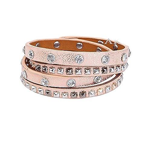 Akki Damen Strass Armband Wickelarmband Armschmuck mit echten Kristallen in schwarz Rosegold und mehr Farben / Vintage Nietenarmband mit Strass und verschiedenfarbigen Perfectes Geschenk für freundin oder liebsten schöner schmuck Rosegold