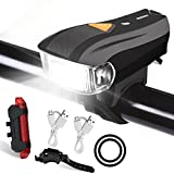 Fahrradlicht LED Beleuchtungsset, Lachesis Fahrradlicht USB Wiederaufladbares Fahrradlampe Set mit Fahrrad Frontlicht & Rücklicht, Wasserdicht Fahrrad Scheinwerfer, Beleuchtung für Fahrrad, Mountainbikes, Rennrad, Camping