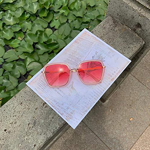 CYCY Sonnenbrille Rahmen rundes Gesicht Big-Box-Sonnenbrille weibliche Polygon Persönlichkeit Gläser XSS Farbverlauf rosa, rosa Rahmen rote Tabletten