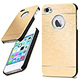 moex iPhone 4S | Hülle Dünn Gold Aluminium Back-Cover Schutz Handytasche Ultra-Slim Handy-Hülle für iPhone 4/4S Case Metall Schutzhülle Alu Hard-Case
