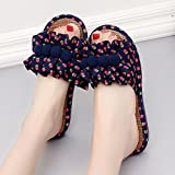 Slipper Footwear Floral Decoration Home Xiaopohe Summer Female Cotton Fabrics (6 Colors, 4 Styles, 5 Sizes) TINGTING (Color : Blue, Size : 39)