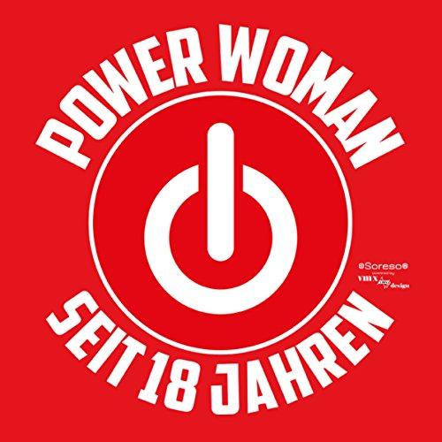 Geschenk für Frauen zum 18. Geburtstag Damen T-Shirt als Geburtstagsgeschenk Geschenkidee für Sie Power Woman seit 18 Jahren für Powergirl Motiv: Power ZeichenFarbe: rot Rot