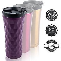 Tasse de café Voyage sur le Go - isolé / acier inoxydable Coupe Thermos 350ml / 300ml - 110% Satisfait ou Remboursé (450ml Violet)