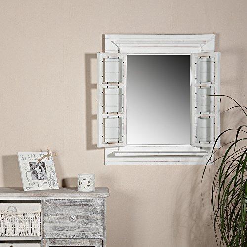 Melko Wandspiegel mit Fensterläden 64x54cm Shabby Chic Weiß Spiegelfenster mit Ablage Hängespiegel mit Fenster Fotorahmen 13x13 cm