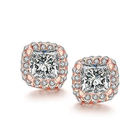 yeahjoy Bling Schmuck Damen 18K Rose vergoldet Cube Form Kristall Pflastersteine Ohrstecker