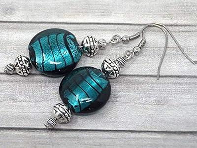 Boucles d'oreilles Venezia en acier inoxydable et perles plates en verre de Murano vert pétrole