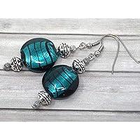Venezia Ohrringe aus Edelstahl und flachen Perlen in Muranoglas petrolgrün