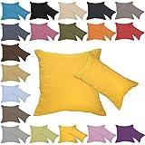 Qool24 Leinen-Optik Kissenbezug mit Reißverschluss Kissenhülle Kissenbezüge 23 Farben und 19 Größen Gelb 50x60 cm