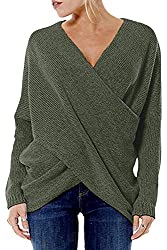 YOINS Damen Pullover Herbst Winter V-Ausschnitt Langarmshirt Batwing Strick Sweater Loose Strick Jumper Shirt Top Cross Front Dunkelgrün EU36-38