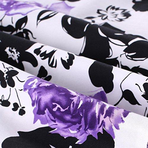 Babyonlinedress Robe de soirée/Cocktail Courte Rétro Vintage année 1950 sans Manches avec l'Impression Fleur Noir
