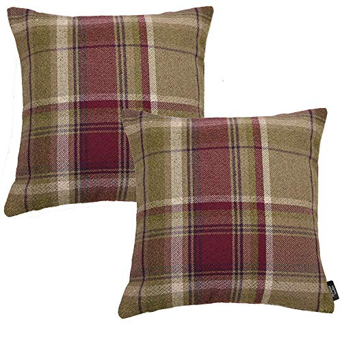 McAlister Textiles Heritage | 2er Packung Kissenbezüge für Sofakissen im Tartan-Muster Kariert 40 x 40cm in Maulbeere Violett | Deko Kissenhülle für Zierkissen, Sofa, Bett, Couch -