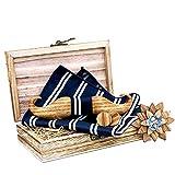 MOZEE Geschenkbox aus Holz mit Fliege, Hochwertiger Nussbaumfliege mit Brosche und Manschettenknöpfen (T-213C)