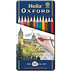 Helix Oxford Colouring Pencils in Metal Tin (Pack of 12)