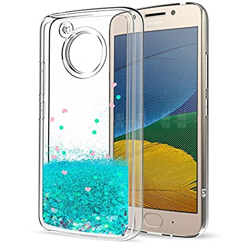 Moto G5 Liquid Case with HD Screen Protector for Girls Women,LeYi Cute Shiny Glitter Moving Quicksand Clear TPU Full Body Protective Phone Case for Motorola Moto G5 ZX Turquoise