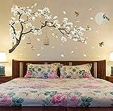 187X128Cm Tamaño Grande Árbol Pegatinas De Pared Flor De Pájaros Decoración Para El Hogar Papeles Pintados Para La Sala De Estar Dormitorio Bricolaje Vinilo Habitaciones Decoración