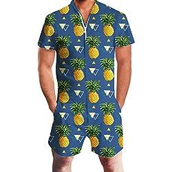 Chicolife para Hombre Azul Marino piña Impresos Camisas con Playa Pantalones Cortos Playsuit Mono del Mameluco Trajes Ropa