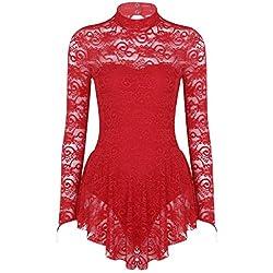 dPois Femme Artistique Robe de Patinage Justaucorps Gymnastique Asymétrique Tutu Robe Danse Latine Manches Longues Costume Jazz Moderne Contemporaine Combinaison XS-XL 1 Rouge S