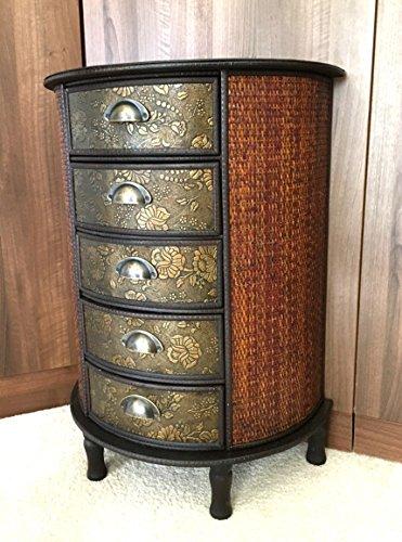 Chinesische 5Schublade Dunkles Holz Stauraum Schrank Orientalische Möbel Redwood (Holz-möbel Antike Chinesische)