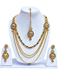 Lucky Jewellery Golden & White Multi Layered Necklace Set With Mang Tikka