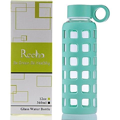 Reeho® Deportes Borosilicato Botella de Agua de Vidrio con Silicona Manga [Libre de BPA] (Cielo Azul, 360ml)