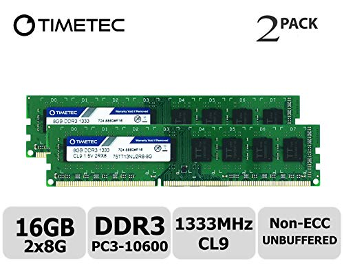 Timetec Hynix IC DDR3 1333MHz PC3-10600 Unbuffered Non-ECC 1.5V CL9 2Rx8 Dual Rank 240 Pin (16GB(8GBx2)) - Acer-ddr-speicher