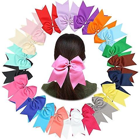 20Pcs 18CM Softball Cheer Bows Ponytail Holder,Jumbo Goody Hair Bows Elastic Hair Tie for Cheerleader Sports Girls Uniform Accessories