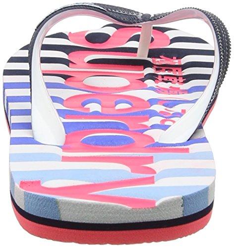 Superdry Eva, Tongs Femme Multicolore (Dark Navy/Hazard Pink/Optic)