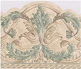 Beige Grün Vines Damast MODERNE Tapete Bordüre Viktorianisches Design, Rolle 15'x 21cm
