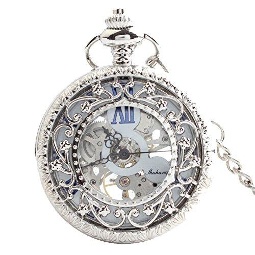 1b35bd920874 Lekima Pocket Watch Hollow Skeleton Roman Numeral Engraved Flower Sub Dial  Clamshell Mechanical Movement Classical Charm