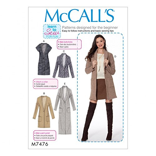 McCall 's Damen Easy Learn To Sew Schnittmuster 7476 Drop Schulter Weste & Strickjacken - Drop-weste