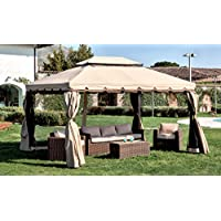 LuxuryGarden - Cenador de jardín de 3x 4metros, de aluminio con tela impermeable de poliéster y PVC - Color crudo, con 4paredes laterales de tela con mosquiteras - ModeloAlicante