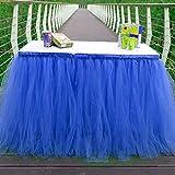 Kaemma Gonna da Tavolo in Tulle per tavola Rettangolare o Rotonda Stoviglie in Tulle per Feste Matrimonio Festa di Compleanno e Decorazioni per la casa (Colore: Blu)