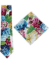 d10f6d19666b Knightsbridge Neckwear Mens Bright Floral Cotton Tie and Pocket Square Set