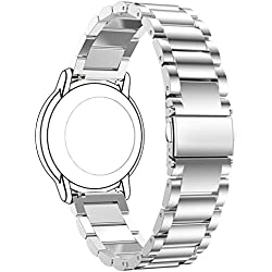 Replacement 3 Beads Stainless Steel Bands for LG LGW110 G Watch R Smartwatch (Silver)