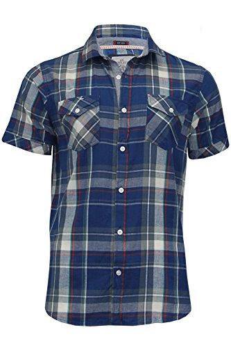 Carreaux pour homme à manches courtes en coton pour homme Casual Top (en laiton) par Brave Soul Bleu - Blue/Denim