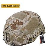 CyberDyer - Funda para Casco de Camuflaje táctico Militar para Casco de Combate Fast PJ Tipo Casco para Airsoft, Paintball, Caza, Tiro (Casco no Incluido), Desert Camouflage