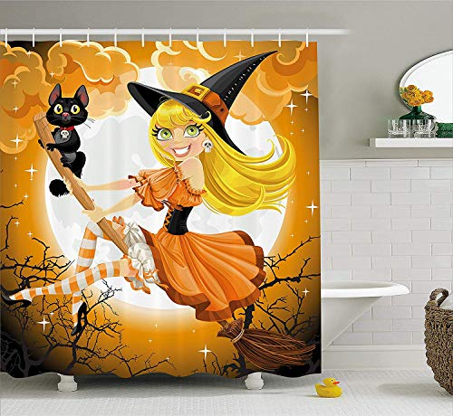 tgyew Halloween Decorations Shower Curtain Set, Cute Sexy Witch on a Broom with Baby Kitten and Hazy Moonlight Bewitched Theme Print, Bathroom Accessories, 60W X 72L Inche Long, Multi