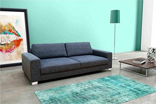 BITONTO 3er Boxspringsofa 3-Sitzer Sofa Couch Webstoff Schwarz-Grau -