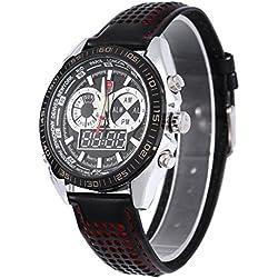 Leopard Shop TVG 568 Digital Military Wristwatch Quartz Double Movt Men Watch Day Alarm Leather Band Luminous LED Display Chronograph Red