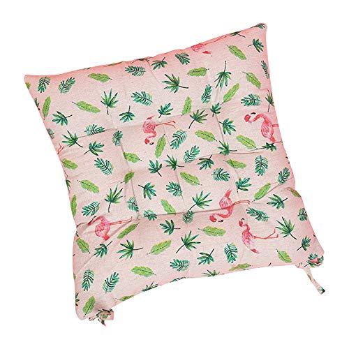 Milnut Sitzkissen Stuhlkissen mit Schleife 40x40cm Sitzauflage Rückenkissen für Bürostuhl Esszimmerstuhl Gartenstuhl, Flamingo