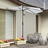 Outsunny Halber Sonnenschirm /Regenschirm für Balkon oder Terrasse, halbrund, Aluminiumgestell, Kurbel, 3m, Schirmfuß nicht im Lieferumgang enthalten, cremefarben