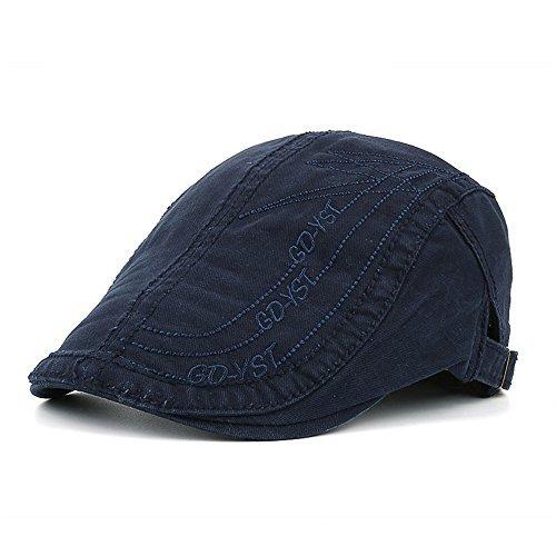 Flache Kappe Schiebermütze Herren Jungen Klassisch Retro Baumwolle Im Freien Sommer Sonnenhut, Blau