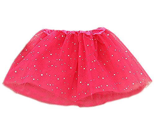 DELEY Baby Mädchen Pailletten Sterne Tutu Rock Party Glitter Tanz Ballett Kleid Kostüm Hot Pink (Pink Kleid Glitter Hot)