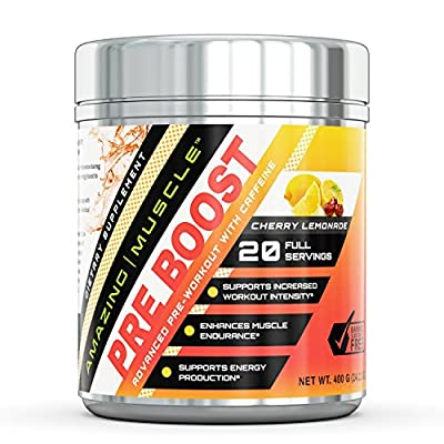 Amazing Muscle – PRE-BOOST - Advance Pre-Workout Formula with Caffeine, Beet root extract, BioPerine and more - Promotes Energy for an Intense Workout - Supports Enhanced Muscle Focus and Growth?– 400 grams container by Amazing Nutrition