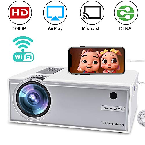 Videoproiettore WiFi Full HD 1080P, FAERSI portatile LED Mini Home Cinema proiettore con HDMI USB VGA AV compatibile con IOS Android Smartphone PC TV Laptop