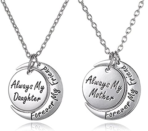 Lot de 2 Always My Daughter Forever My Friend/Always My Mother Forever My Friend gravé Argenté Collier assorti Ensemble cadeau