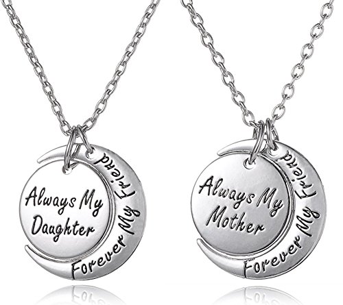 Set Of 2 Always My Daughter Forever My Friend/always My Mother Forever My Friend Inscribed Silver Tone Matching Necklace Gift Set By Glamour Girl Gifts Collection